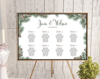 White Winter Christmas Pine Cone Wedding Seating Chart, Wedding Seating Poster, Wedding Seating Sign, Wedding Seating Board WS73 WC136