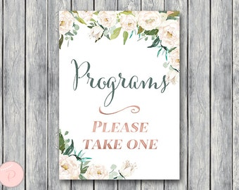 Green Garden Wedding programs sign, Printable Program Sign, Wedding Ceremony Program, Printable sign, Wedding decoration sign TH61 dd