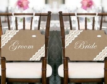 Burlap Lace Bride and Groom Chair Banner, Wedding Decorations, Chair Banner, Wedding Sign, Printable Chair Sign TH79 SN34