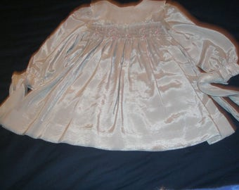 Polly Flinders Size 4 Girl Smocked Silver/Grey Dress