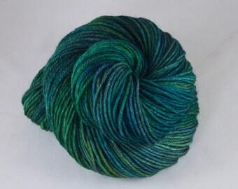 Hand Dyed DK Yarn, hand dyed wool, variegated sock yarn, nylon sock yarn, green