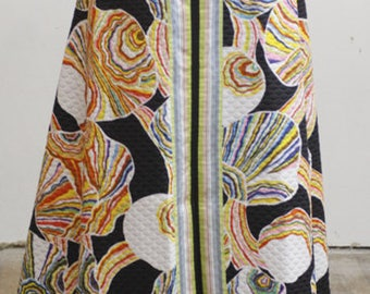 Vintage Quilted High Waisted Long Maxi Skirt with Colorful Shell Pattern