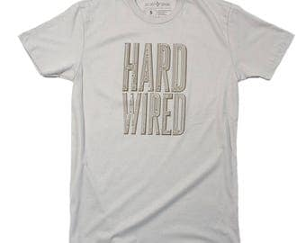Mens Graphic T Shirt - HARD WIRED Techie Tshirt - Story Spark - Tech Guy - Gifts for Guys - Technology Shirt - Cool T-shirts - Unique Gifts