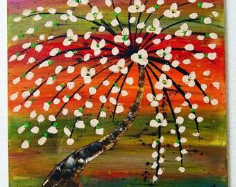"Contemporary artist - Yogi Gray signed 18""x18"" distinctive oil painting on canvas #1"