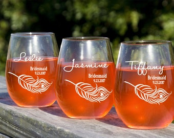 4 Bridesmaids Stemless Wine Glasses, Etched Glass, Personalized Bridal Party Favors, 12 Oz Stemless Wine Glasses, Maid of Honor