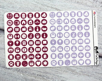 Berry and Violet Lifestyle Icon Planner Stickers