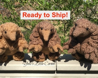 Pangolin in light brown, brown and 2-toned. Crochet Amigurumi. Ready to Ship.