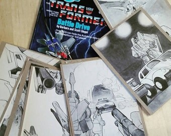 Transformers greeting cards salvaged from 1980s children's book. Set of 8 black and white autobot and decepticon. More than meets the eye!