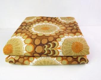 60s curtains, mid century, mod, brown and orange psychedelic patterned curtains