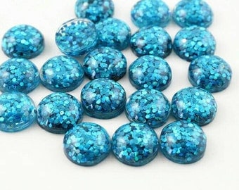 10pcs 12mm Ice Blue Glitter Resin Dome Metallic Cabochons DIY Cabochon Jewelry Supply Jewellery Supplies Mermaid Earrings Cameo Bezel Round