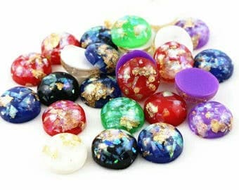 20pcs - 12mm Assorted Colors Cabochon Pack - Gold Golden Flakes Resin Cabochons - Multi Colour Round Dome Jewelry Supplies DIY Earrings