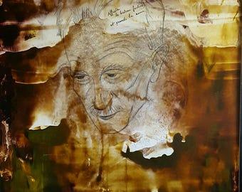 LUCIENNE BERTHON ( 1926 - 2012 ) Large Oil Painting Titled 'Affretement , poème de Jospeh Delteil' Surrealist/Abstract