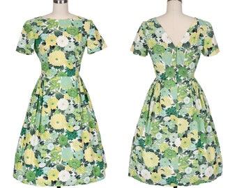 Late 1950's Lemon Lime Floral Print Cotton Dress