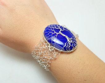 FREE SHIPPING Wire crochet cuff bracelet with genuine gemstone: Onyx