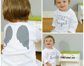 "Angel wings tshirt-Little angel- angel wings-angel wings shirt-toddler tshirt-French saying""petit ange""for little angel-front & back"