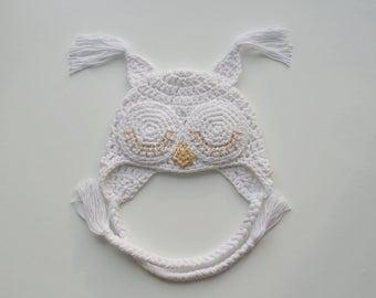 Crochet Owl Hat/COMING HOME HAT/baby hat/Owl photo prop/Baby Shower Gift/Newborn Owl/Crochet cotton Owl Hat/Newborn Owl hat/Baby Owl hat