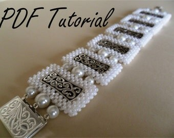 Catarina Bracelet Right angle weave Beadweaving instructions Beaded bracelet tutorial Bangle beading pattern Cubic raw