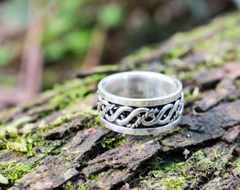 Thick oxidized band in sterling silver 925 - size 6.5