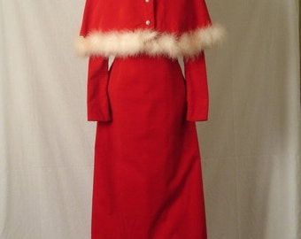 On Sale 1960s Womens Red Velvet Christmas Dress Gown with Maribou Trim Mrs Claus