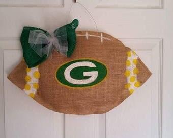 Sports burlap door hanger football