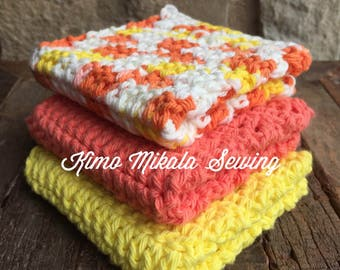 Crocheted Dishcloths - Bright Yellow and Orange - 100% Cotton - Set of Three