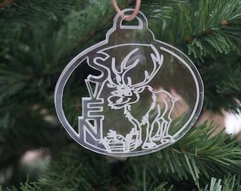 Childrens Frozen reindeer Sven personalised Christmas decoration, sven decoration, frozen decoration, personalised childs decoration, gift