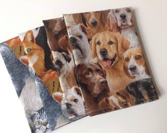 Dog Cat Animal Lover 12x12 Cotton Napkins, Set of 6