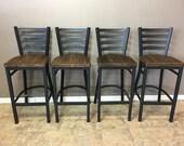 Reclaimed Bar Stool| Set of 4 | In  Black Metal Finish | Ladder Back Metal | Restaurant Grade -30 Inch High Barstool