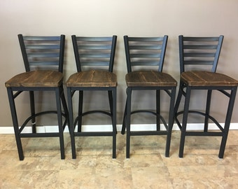 Reclaimed Bar Stool| Set of 4 | In  Black Metal Finish | Ladder Back Metal | Restaurant Grade -30 Inch High Barstool
