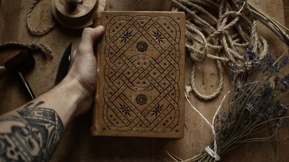 Book of Paths - A Handmade Brown Leather Journal with Tooling