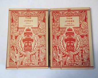 Rare 1930 Deco Cover Tom Jones in Two Volumes - Fielding - Classic Literature - Odham Publishing England - Antique Vintage Books