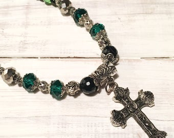 Green and Black Silver Cross Beaded Necklace