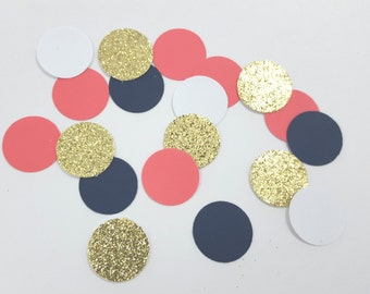 Gold Glitter, Coral, Navy and WhiteCircle Confetti