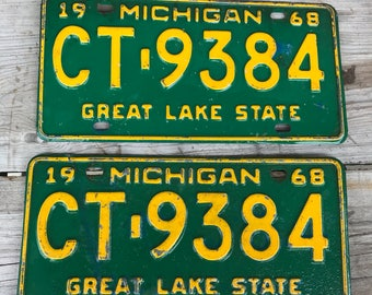 Matching 1968 Michigan License Plates