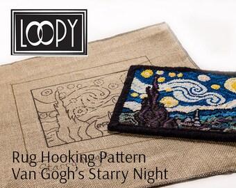 Rug Hooking Pattern, Van Gogh's Starry Night, Linen Pattern