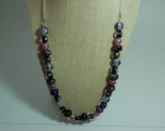 Purple Flower Lampwork Glass Bead Necklace