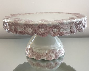 Ceramic Cake Stand - Vintage - Cottage Chic - Farmhouse