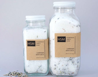 16 oz Relaxing Lavender Bath Salts-  Muscle relief bath salts- Detox Epsom and Dead Sea Salts with Lavender Buds & Essential Oils