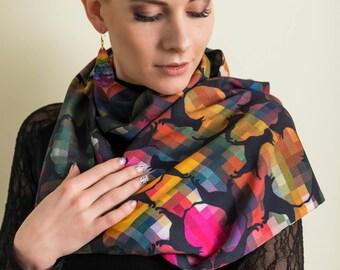 Bull terrier infinity scarf, original design, viscose