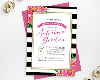Printable Floral Bridal Shower Invitation, Stripes and Florals Printable Shower Invite, DIY Floral Pink Gold Stripes Invite