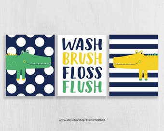 "Digital Alligator Bathroom Art Prints - INSTANT DOWNLOAD - Set of 3 - 5""x7"" and 8""x10"""