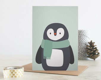 Illustrated Christmas card, cute penguin illustration, winter animals wearing scarves, A6 size with envelopes