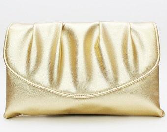Gold Metallic Clutch - Vintge 1970s Gold Handbag