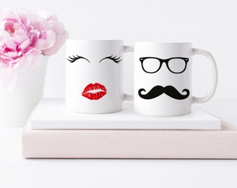 Cute Couples Mugs | Couple Gift | Couple Mugs | Mascara and Red Lips Moustache | Wedding Gift | Mr & Mrs Mugs | Anniversary Gift | Under 50