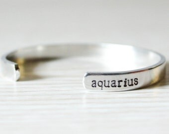 Hand Stamped Aquarius Bracelet - Zodiac Sign Jewelry - Astrology Gifts - Horoscope Jewelry - Birthday Gifts for Her - Astrological Signs