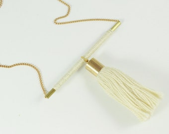 Tassel Necklace  • Tube Necklace  • 22 ct Gold Plated Chain • Brass Tube Necklace • Contemporary Necklace