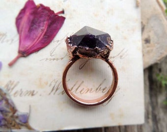 Amethyst  raw ring , 12,5 size US, purple electroformed jewelry, MARIAELA jewelry,  gemastone jewelry,