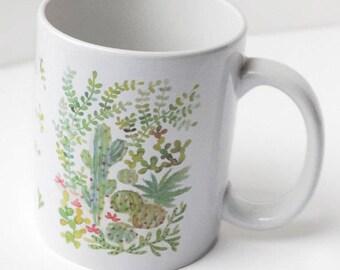 Tasse cactus aquarelle, Mug illustré cactus, Tasse plante, Céramique plante, Illustration plante, Mug cuisine, Mug café thé, Mug idée cadeau
