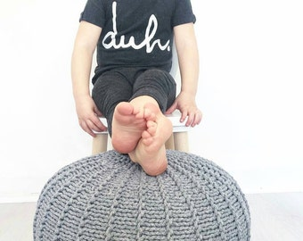Grey cotton floor pouf ottoman knitted pouf knit pouf nursery decor, knitted ottoman footstool nursery pouffe baby pouffe ZURI