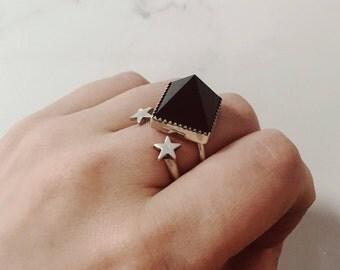 Matilda Ring - Sterling Silver Smoky Quartz pyramid